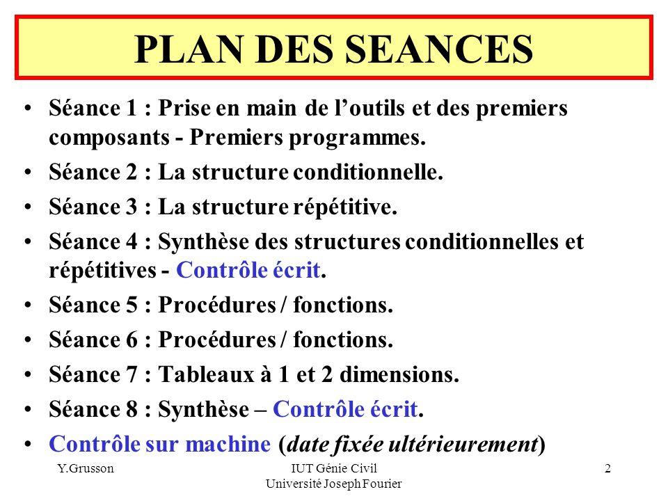 Y.GrussonIUT Génie Civil Université Joseph Fourier 43 SEANCE 3 Solution avec une structure FOR … NEXT Private Sub BLancer_Click() Dim I As Integer Dim Total As Integer (Déclaration locales de 2 variables) Total = 0 For I = 1 To Val(ZLimite.Text) (Le For initialise I avec I=1) Total = Total + I Next (Le NEXT fait évoluer I en exécutant I=I+1) ZTotal.Text = Str(Total) End Sub Cette solution est la plus adaptée à ce problème
