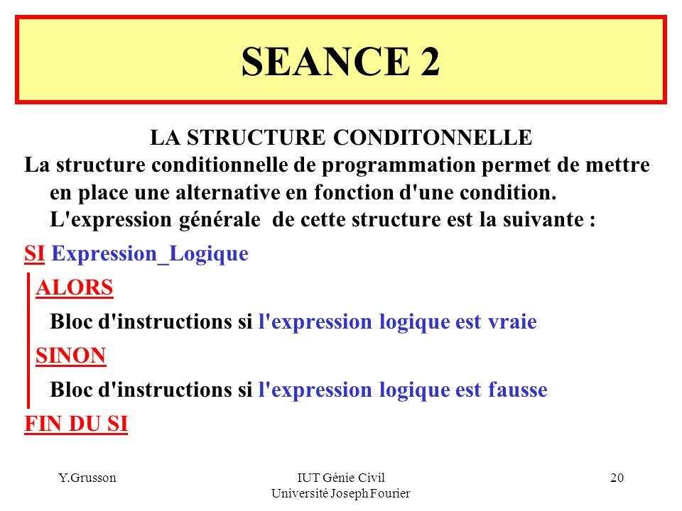 Y.GrussonIUT Génie Civil Université Joseph Fourier 20 SEANCE 2 LA STRUCTURE CONDITONNELLE La structure conditionnelle de programmation permet de mettr