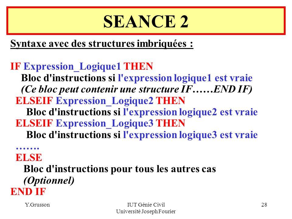 Y.GrussonIUT Génie Civil Université Joseph Fourier 28 Syntaxe avec des structures imbriquées : IF Expression_Logique1 THEN Bloc d'instructions si l'ex