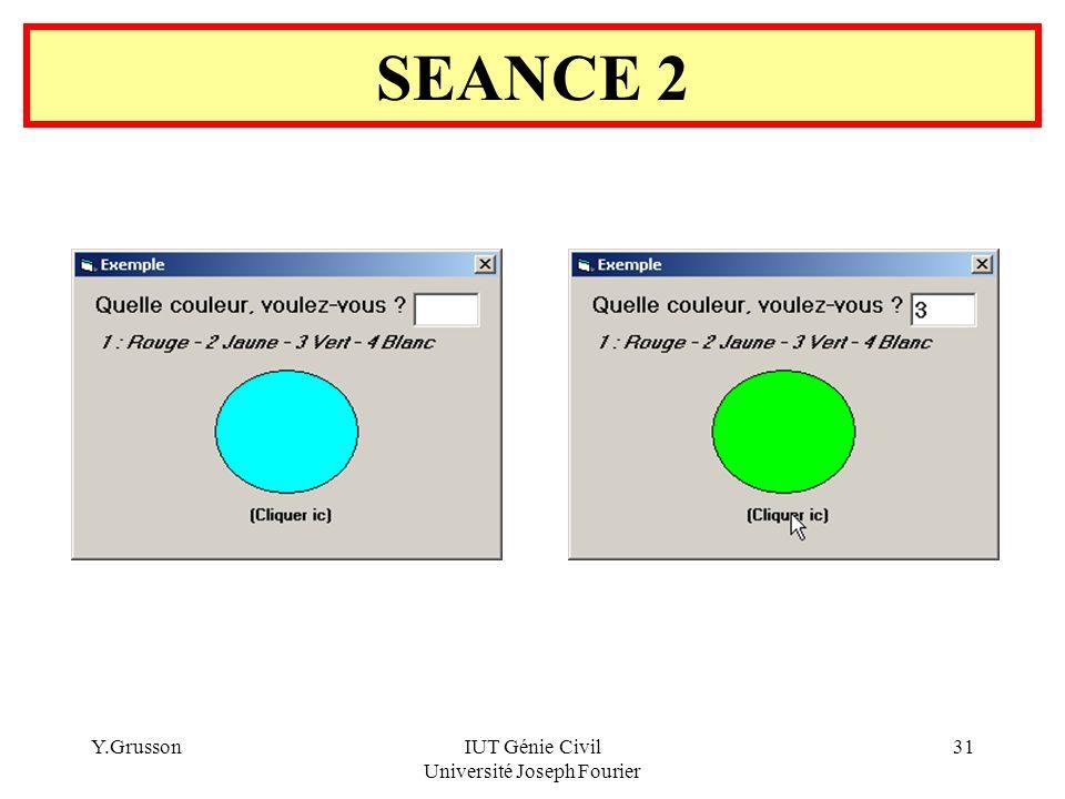 Y.GrussonIUT Génie Civil Université Joseph Fourier 31 SEANCE 2