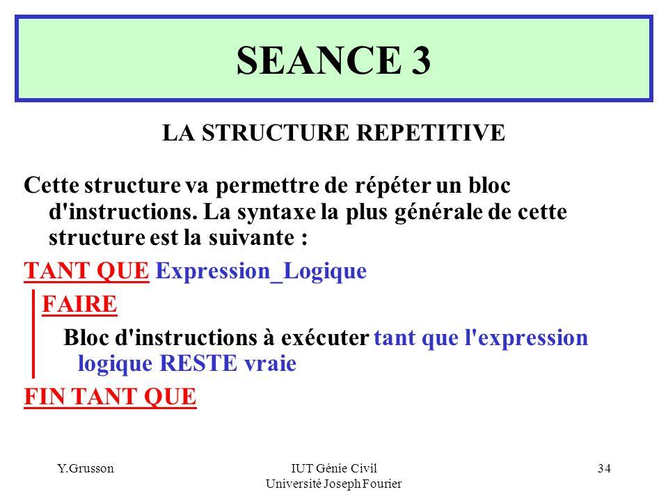 Y.GrussonIUT Génie Civil Université Joseph Fourier 34 SEANCE 3 LA STRUCTURE REPETITIVE Cette structure va permettre de répéter un bloc d'instructions.