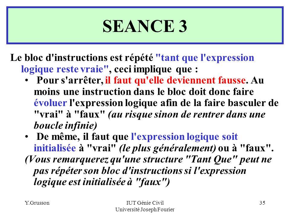 Y.GrussonIUT Génie Civil Université Joseph Fourier 35 SEANCE 3 Le bloc d'instructions est répété