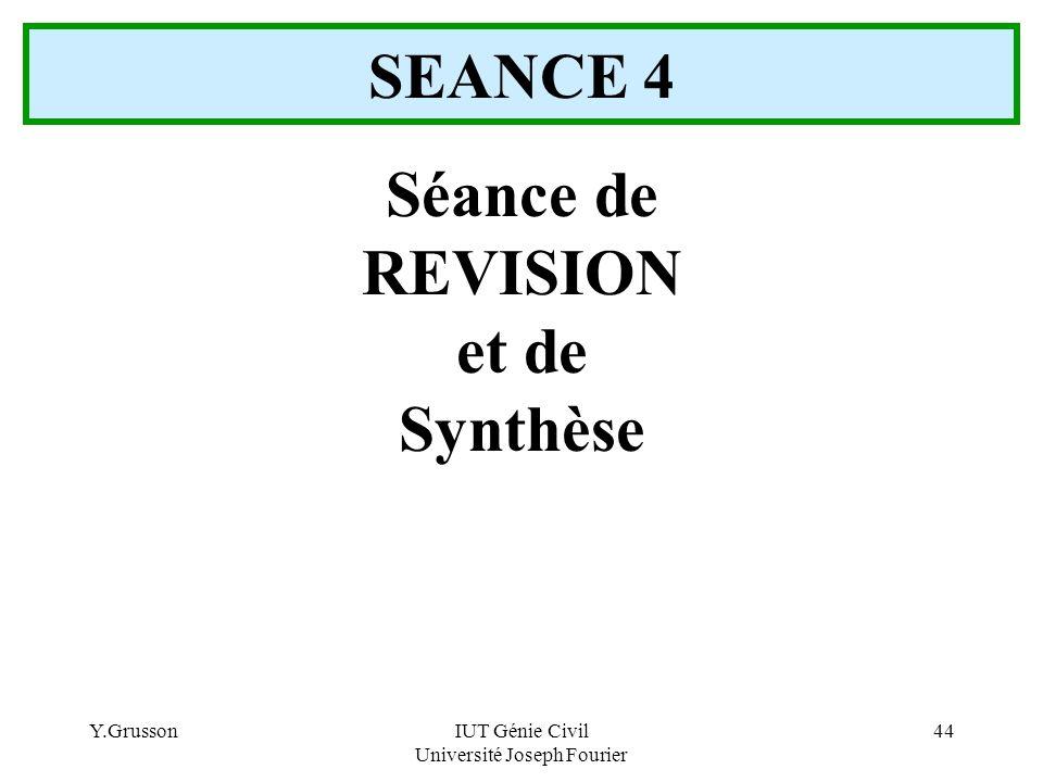 Y.GrussonIUT Génie Civil Université Joseph Fourier 44 Séance de REVISION et de Synthèse SEANCE 4
