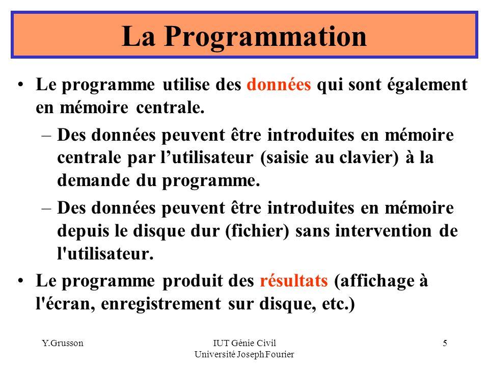Y.GrussonIUT Génie Civil Université Joseph Fourier 6 La Programmation Écran PROGRAMME DONNEES Mémoire centrale Clavier Souris Imp.