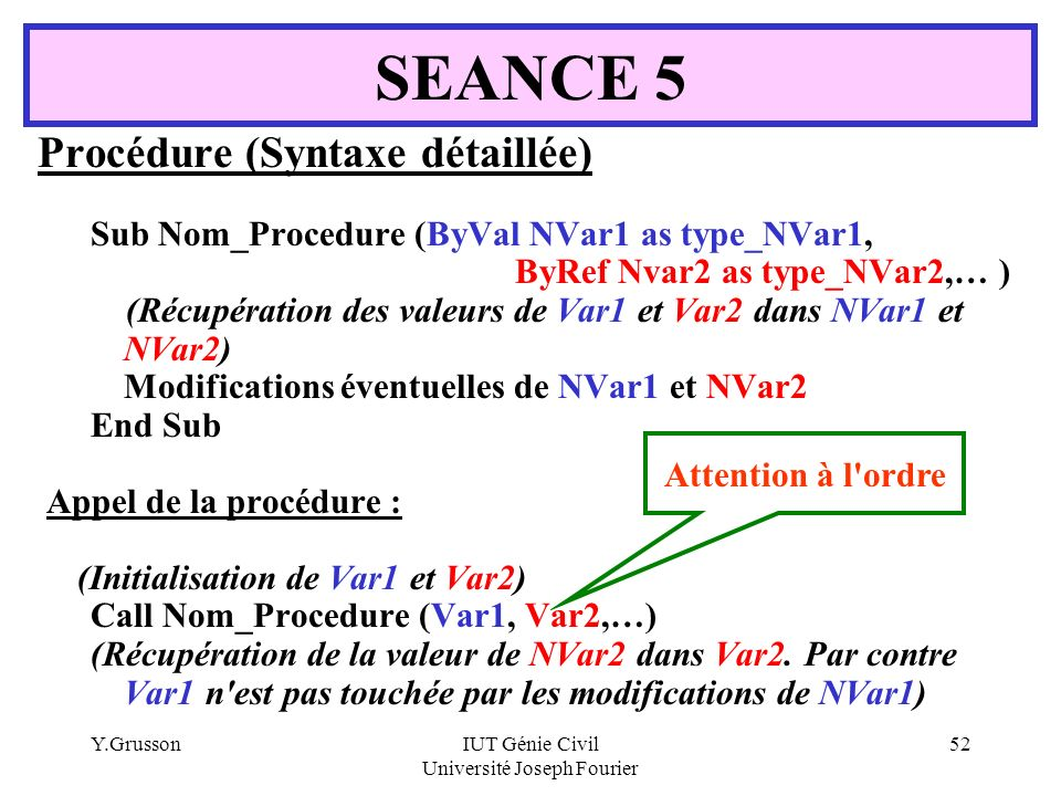 Y.GrussonIUT Génie Civil Université Joseph Fourier 52 Procédure (Syntaxe détaillée) Sub Nom_Procedure (ByVal NVar1 as type_NVar1, ByRef Nvar2 as type_