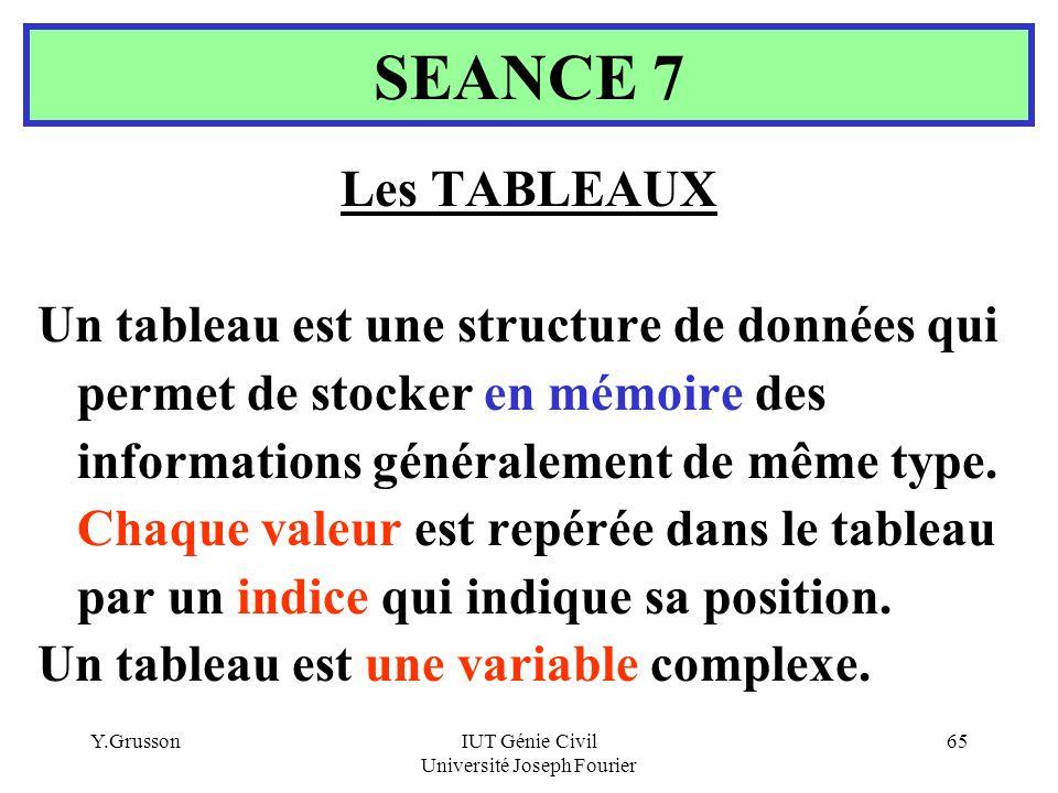 Y.GrussonIUT Génie Civil Université Joseph Fourier 65 Les TABLEAUX Un tableau est une structure de données qui permet de stocker en mémoire des inform