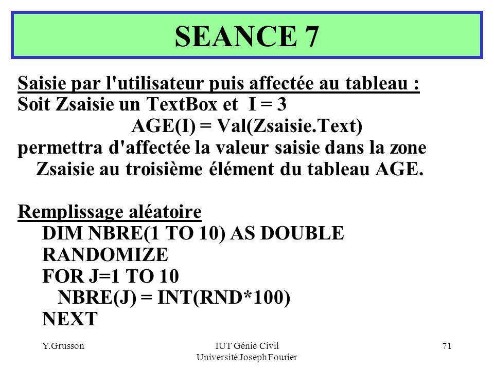 Y.GrussonIUT Génie Civil Université Joseph Fourier 71 Saisie par l'utilisateur puis affectée au tableau : Soit Zsaisie un TextBox et I = 3 AGE(I) = Va