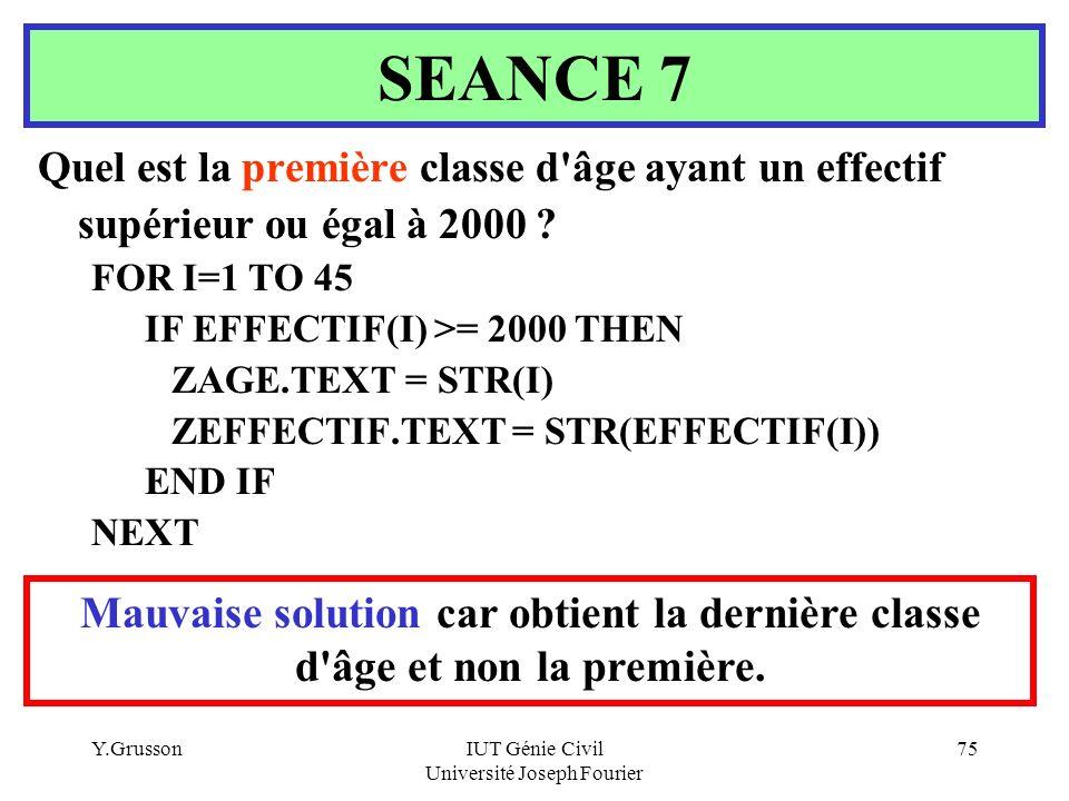 Y.GrussonIUT Génie Civil Université Joseph Fourier 75 Quel est la première classe d'âge ayant un effectif supérieur ou égal à 2000 ? FOR I=1 TO 45 IF