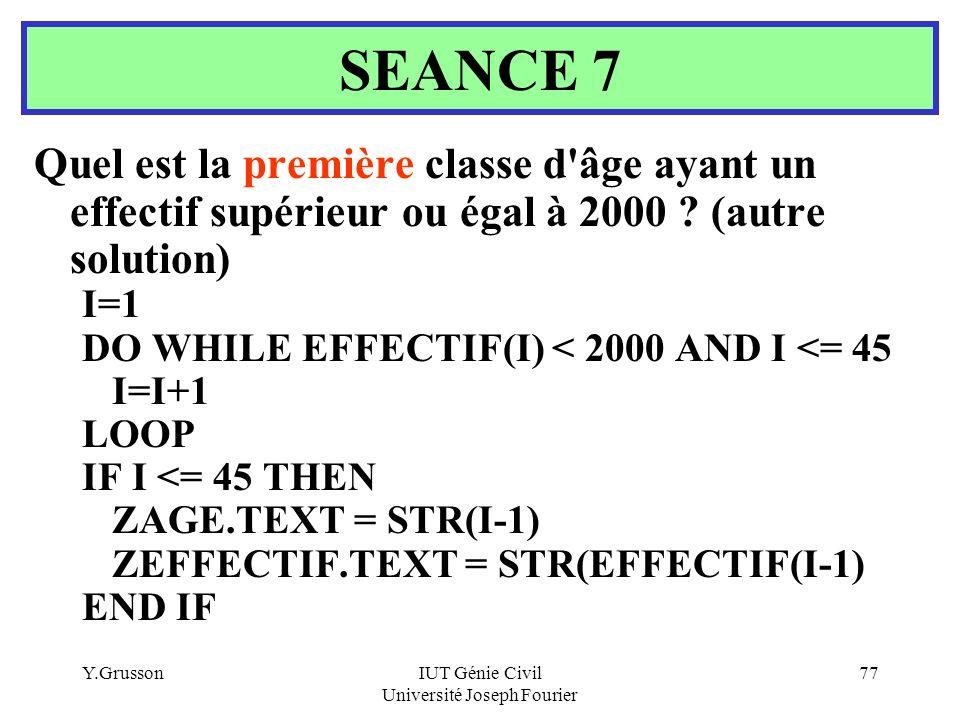 Y.GrussonIUT Génie Civil Université Joseph Fourier 77 Quel est la première classe d'âge ayant un effectif supérieur ou égal à 2000 ? (autre solution)