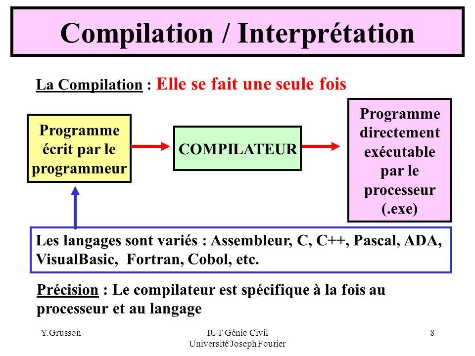 Y.GrussonIUT Génie Civil Université Joseph Fourier 8 Compilation / Interprétation Précision : Le compilateur est spécifique à la fois au processeur et