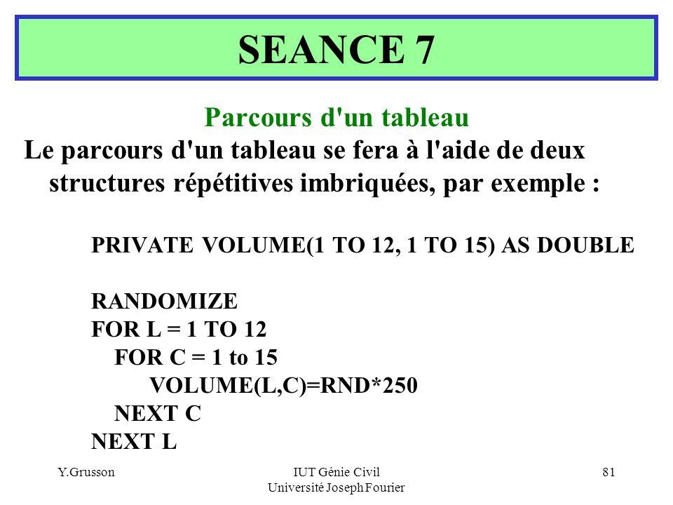 Y.GrussonIUT Génie Civil Université Joseph Fourier 81 Parcours d'un tableau Le parcours d'un tableau se fera à l'aide de deux structures répétitives i