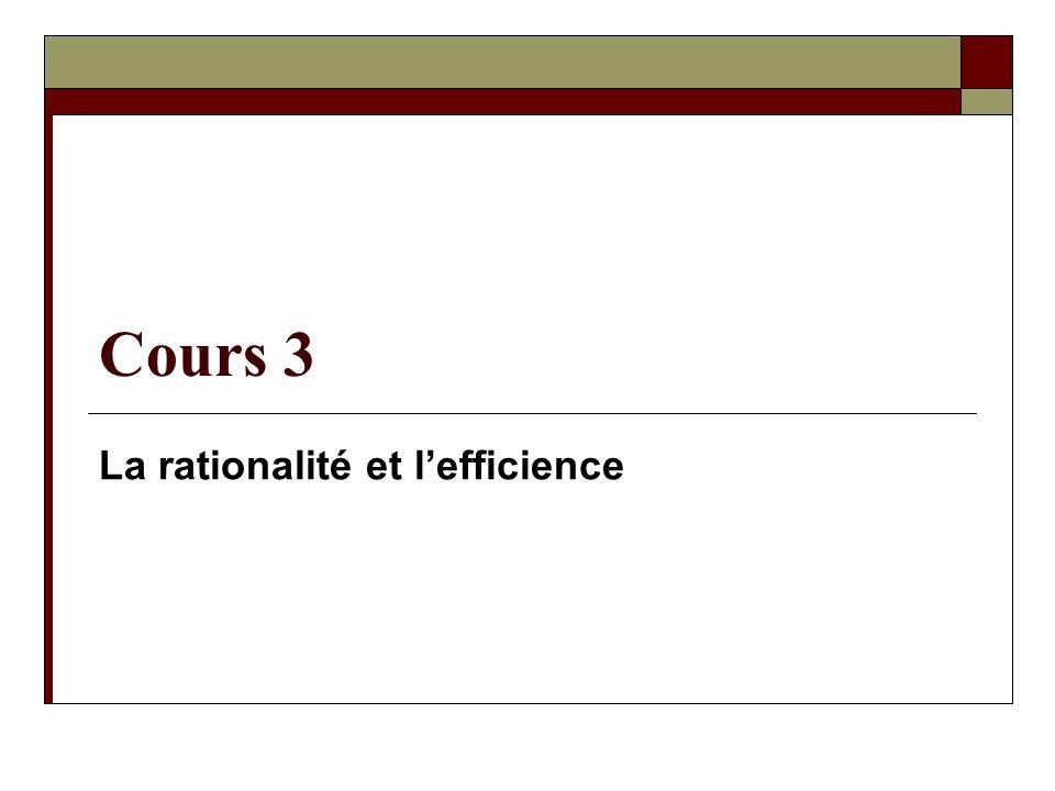 Mon analyse sur lefficience – Suite Lobjectif de lefficience méthodologique = fournir de linformation au décideur Linformation = la nature du problème dinteraction; les options de solution; lanalyse coûts-bénéfices de ces options; sur le classement de chacune delles par rapport aux autres 42