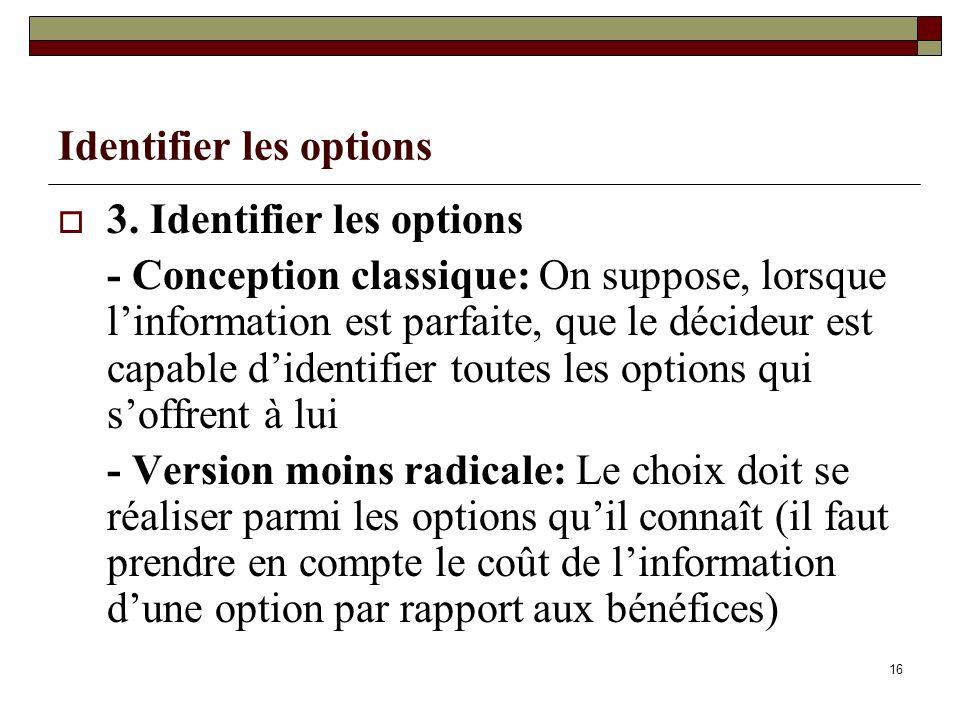 Identifier les options 3. Identifier les options - Conception classique: On suppose, lorsque linformation est parfaite, que le décideur est capable di