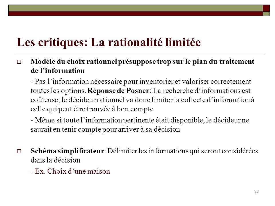 Les critiques: La rationalité limitée Modèle du choix rationnel présuppose trop sur le plan du traitement de linformation - Pas linformation nécessair