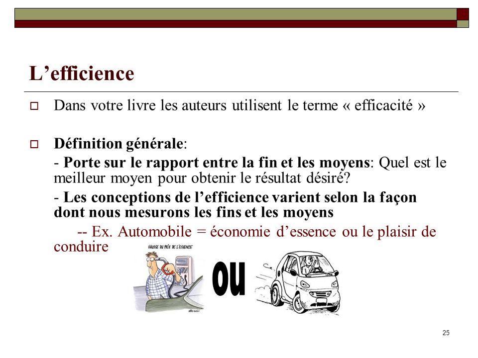 Lefficience Dans votre livre les auteurs utilisent le terme « efficacité » Définition générale: - Porte sur le rapport entre la fin et les moyens: Que