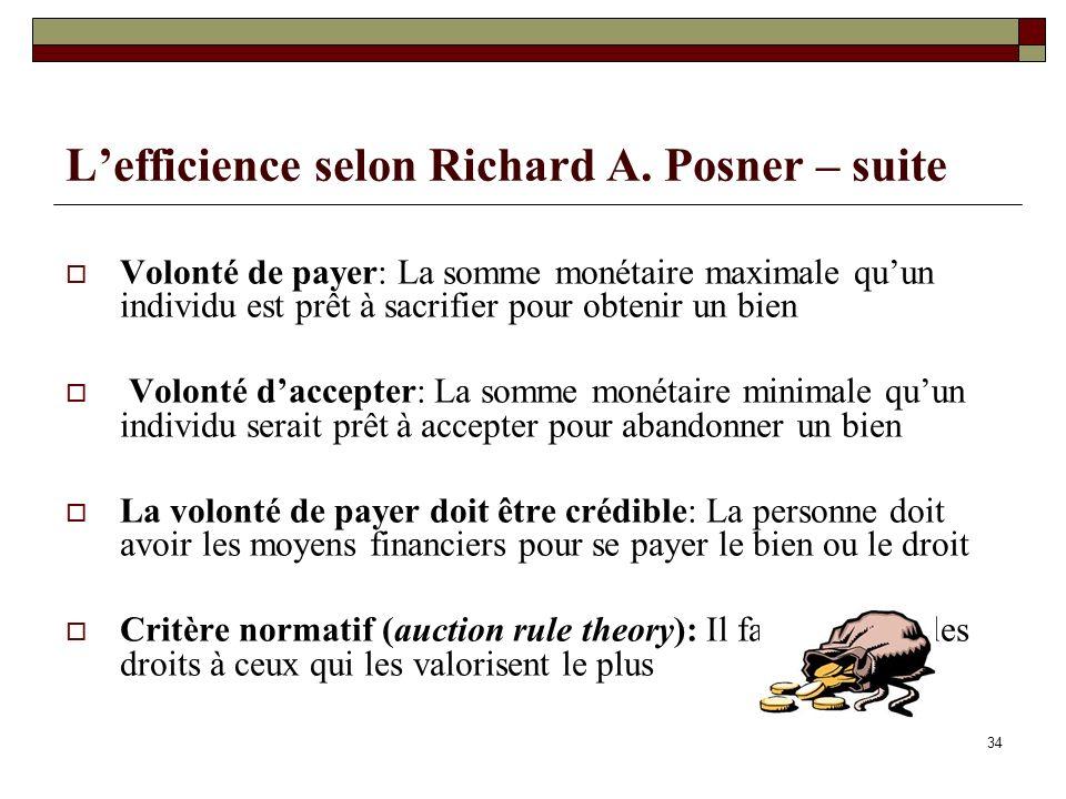 Lefficience selon Richard A. Posner – suite Volonté de payer: La somme monétaire maximale quun individu est prêt à sacrifier pour obtenir un bien Volo