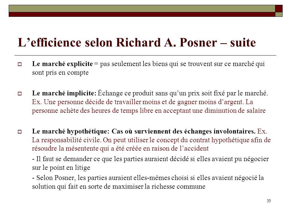 Lefficience selon Richard A. Posner – suite Le marché explicite = pas seulement les biens qui se trouvent sur ce marché qui sont pris en compte Le mar
