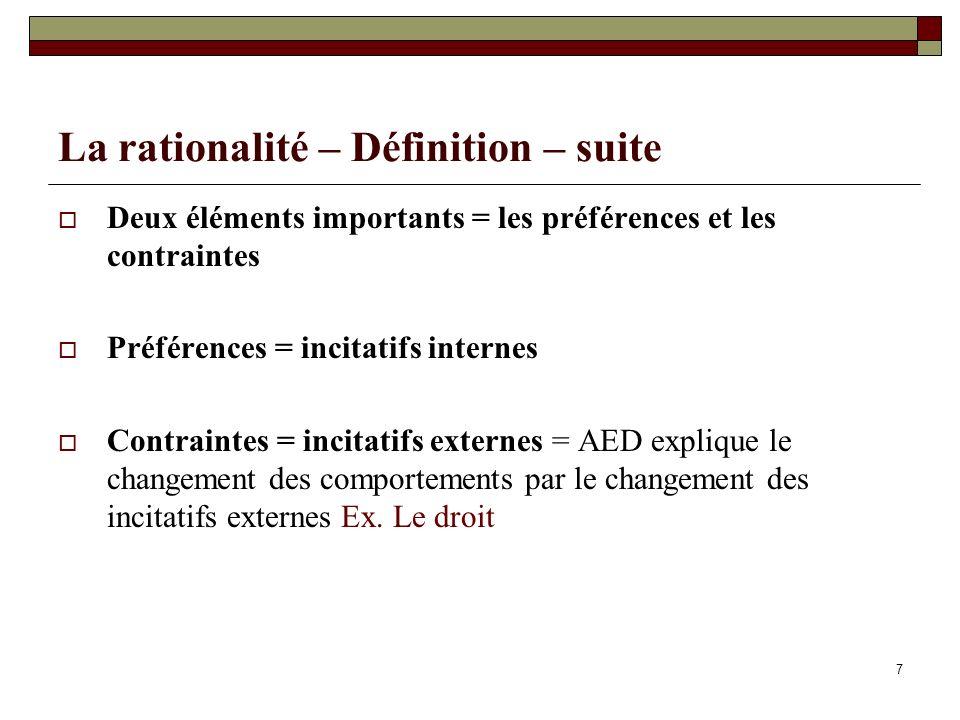 La rationalité – Définition – suite Deux éléments importants = les préférences et les contraintes Préférences = incitatifs internes Contraintes = inci