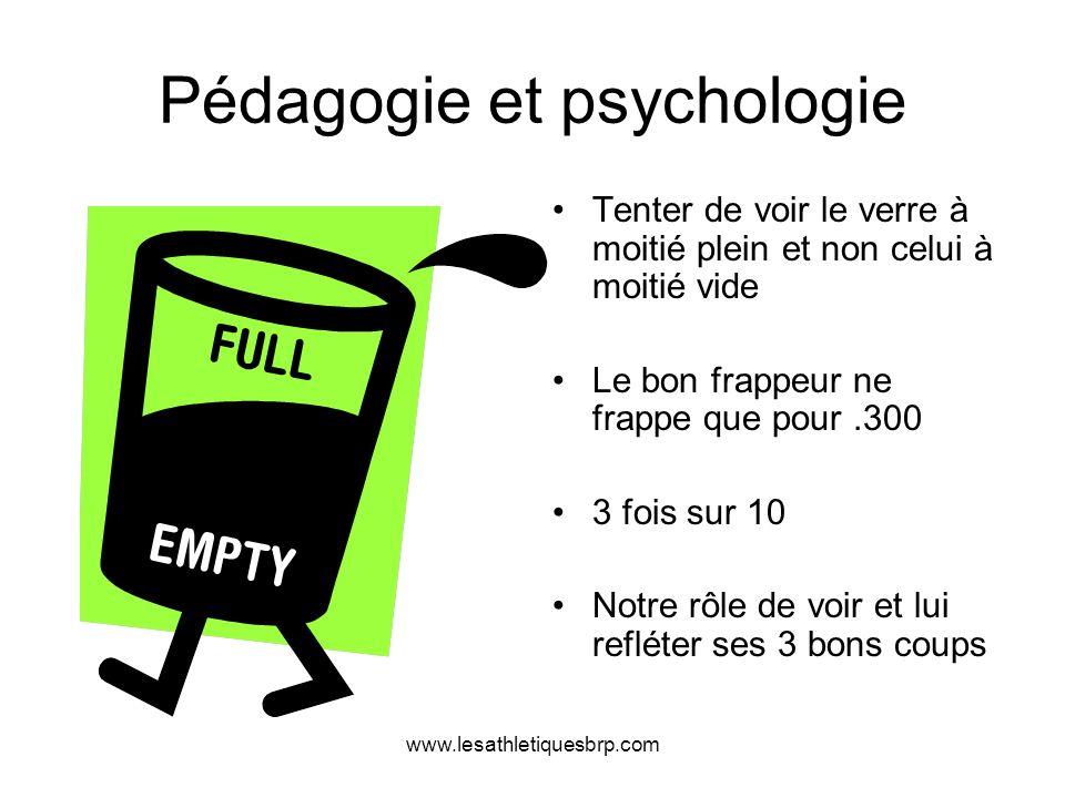 www.lesathletiquesbrp.com Pédagogie et psychologie Tenter de voir le verre à moitié plein et non celui à moitié vide Le bon frappeur ne frappe que pou