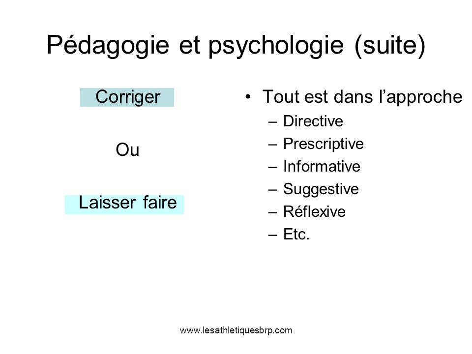 www.lesathletiquesbrp.com Pédagogie et psychologie (suite) Corriger Ou Laisser faire Tout est dans lapproche –Directive –Prescriptive –Informative –Su