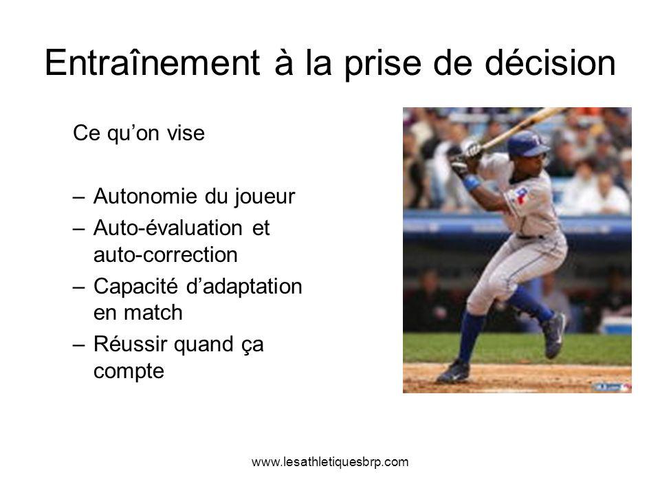 www.lesathletiquesbrp.com Entraînement à la prise de décision Ce quon vise –Autonomie du joueur –Auto-évaluation et auto-correction –Capacité dadaptat