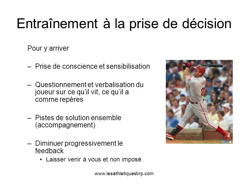 www.lesathletiquesbrp.com Entraînement à la prise de décision Pour y arriver –Prise de conscience et sensibilisation –Questionnement et verbalisation