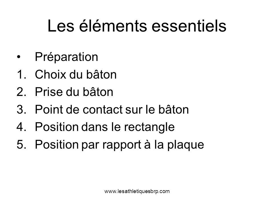 www.lesathletiquesbrp.com Les éléments essentiels Préparation 1.Choix du bâton 2.Prise du bâton 3.Point de contact sur le bâton 4.Position dans le rec