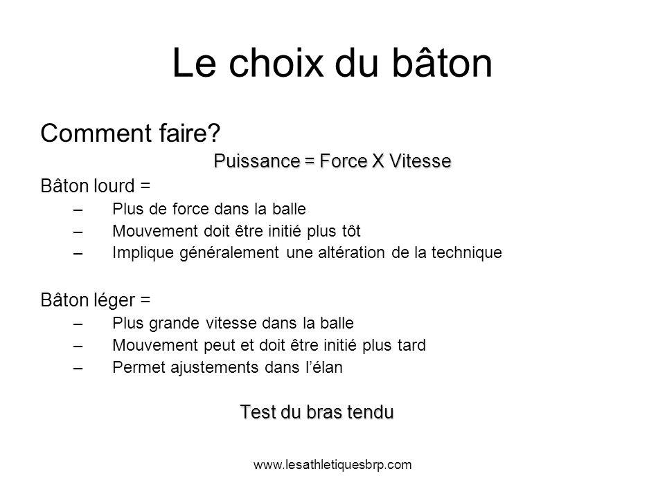 www.lesathletiquesbrp.com Le choix du bâton Comment faire? Puissance = Force X Vitesse Bâton lourd = –Plus de force dans la balle –Mouvement doit être