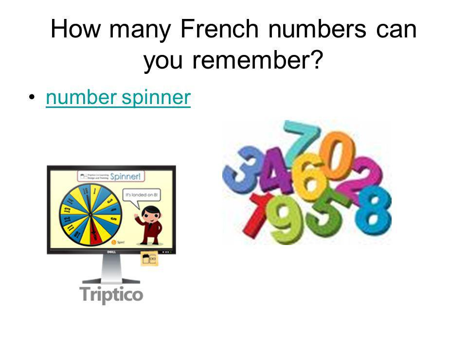 How many French numbers can you remember? number spinner