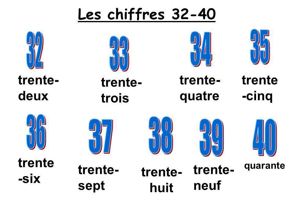quarante trente- sept trente -six trente- quatre trente -cinq trente- trois trente- deux Les chiffres 32-40 trente- neuf trente- huit