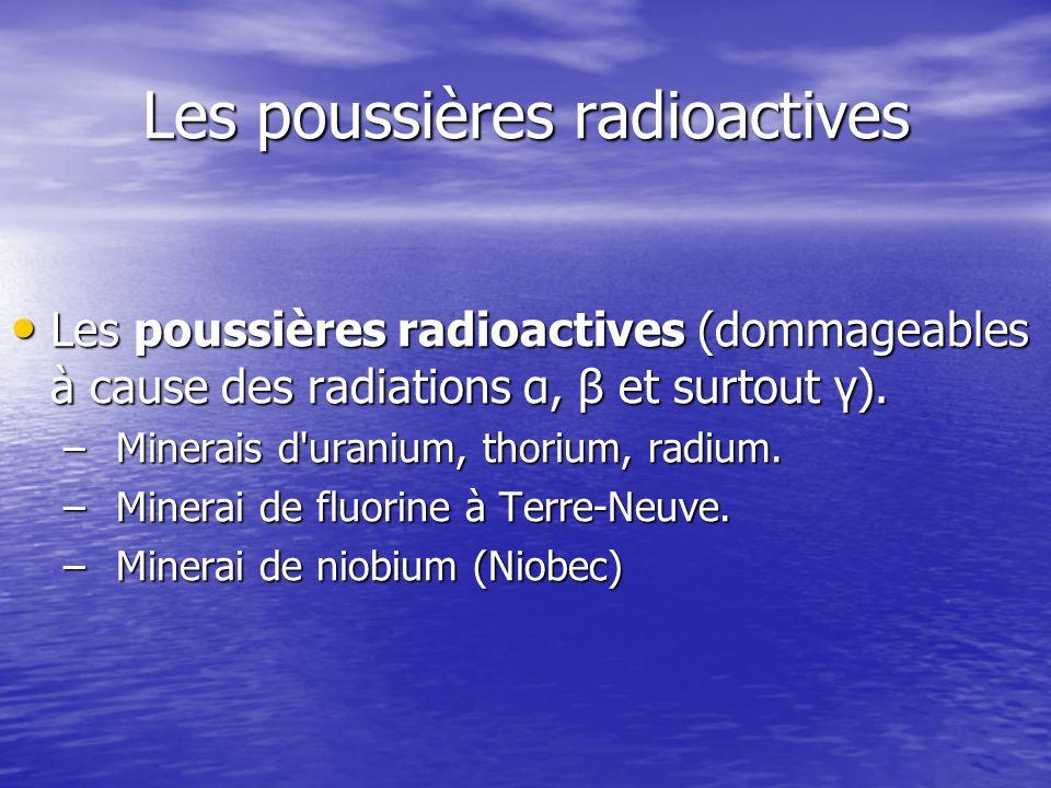 Les poussières radioactives Les poussières radioactives (dommageables à cause des radiations α, β et surtout γ). Les poussières radioactives (dommagea