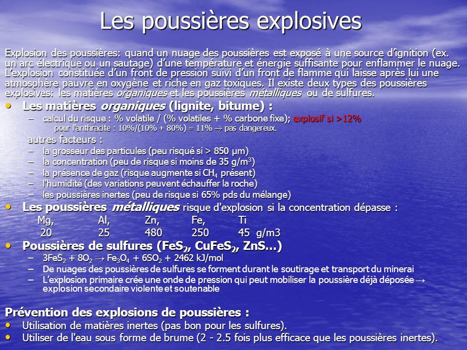 Les poussières explosives Explosion des poussières: quand un nuage des poussières est exposé à une source dignition (ex. un arc électrique ou un sauta