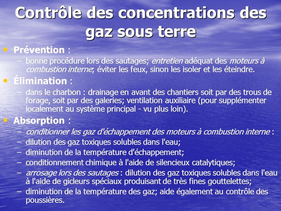 Contrôle des concentrations des gaz sous terre Prévention : – –bonne procédure lors des sautages; entretien adéquat des moteurs à combustion interne;