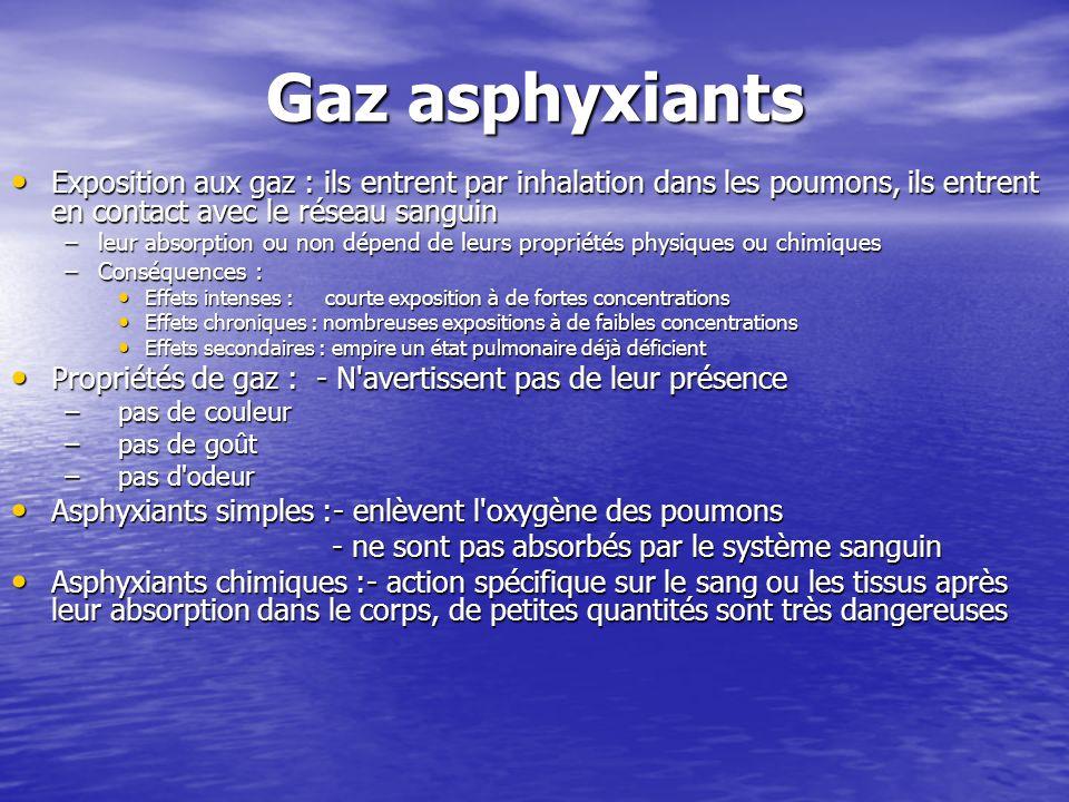 Gaz asphyxiants Exposition aux gaz : ils entrent par inhalation dans les poumons, ils entrent en contact avec le réseau sanguin Exposition aux gaz : i