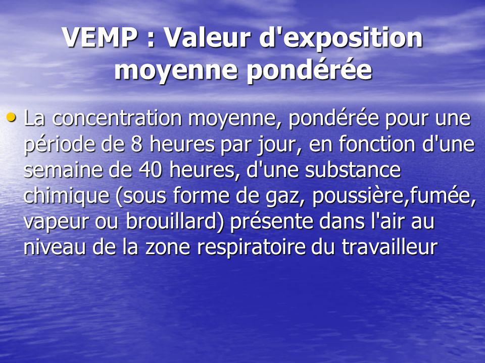 VEMP : Valeur d'exposition moyenne pondérée La concentration moyenne, pondérée pour une période de 8 heures par jour, en fonction d'une semaine de 40