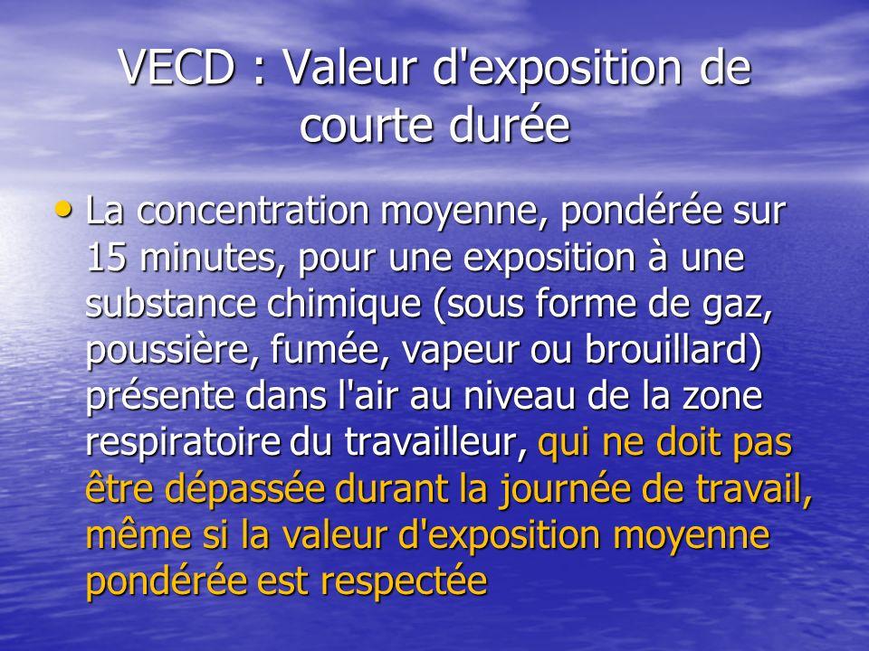 VECD : Valeur d'exposition de courte durée La concentration moyenne, pondérée sur 15 minutes, pour une exposition à une substance chimique (sous forme