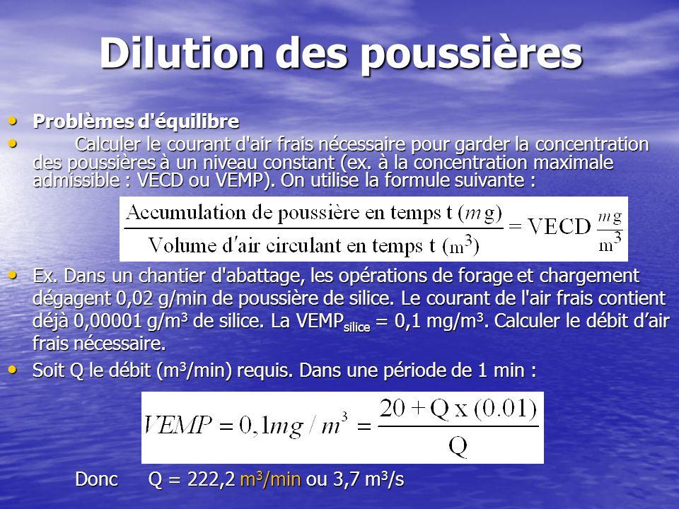 Dilution des poussières Problèmes d'équilibre Problèmes d'équilibre Calculer le courant d'air frais nécessaire pour garder la concentration des poussi