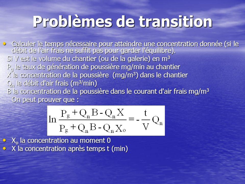 Problèmes de transition Calculer le temps nécessaire pour atteindre une concentration donnée (si le débit de l'air frais ne suffit pas pour garder l'é