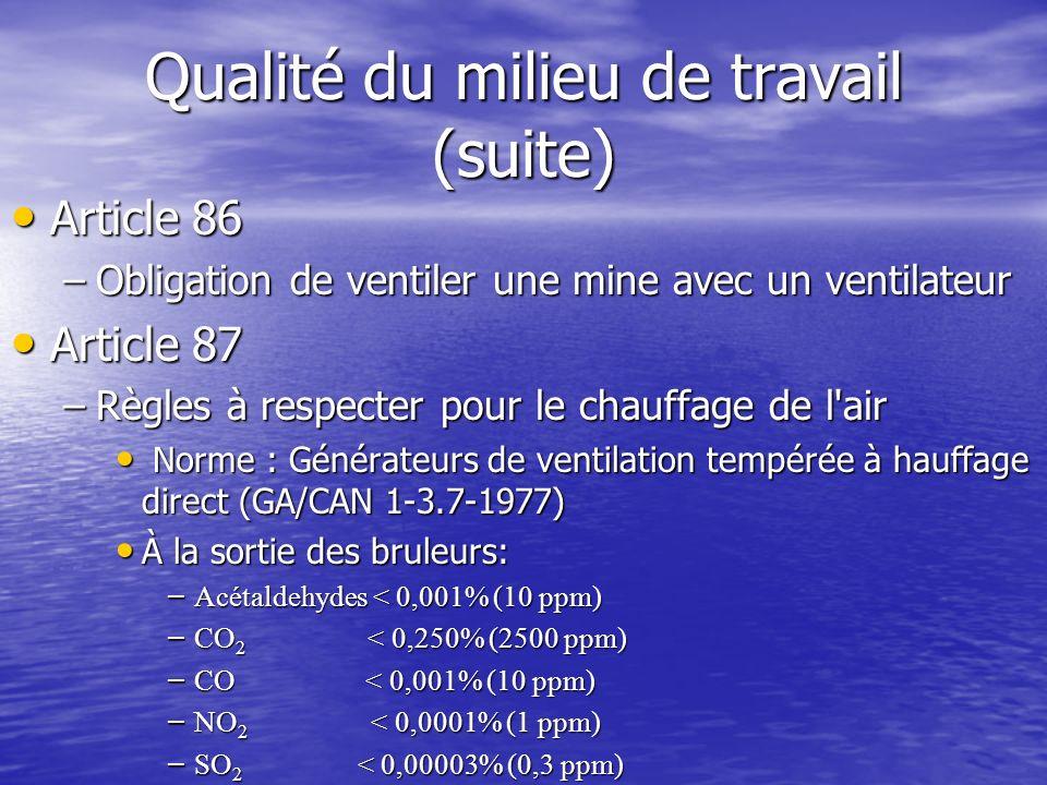 Qualité du milieu de travail (suite) Article 86 Article 86 –Obligation de ventiler une mine avec un ventilateur Article 87 Article 87 –Règles à respec