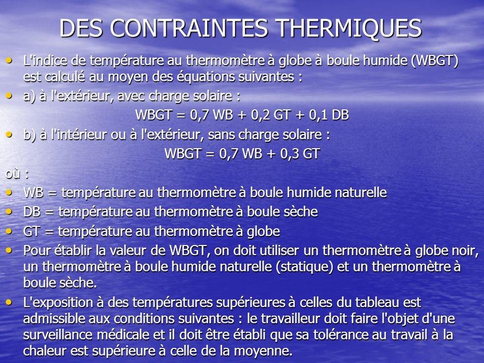 DES CONTRAINTES THERMIQUES L'indice de température au thermomètre à globe à boule humide (WBGT) est calculé au moyen des équations suivantes : L'indic