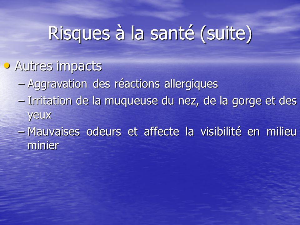 Risques à la santé (suite) Autres impacts Autres impacts –Aggravation des réactions allergiques –Irritation de la muqueuse du nez, de la gorge et des