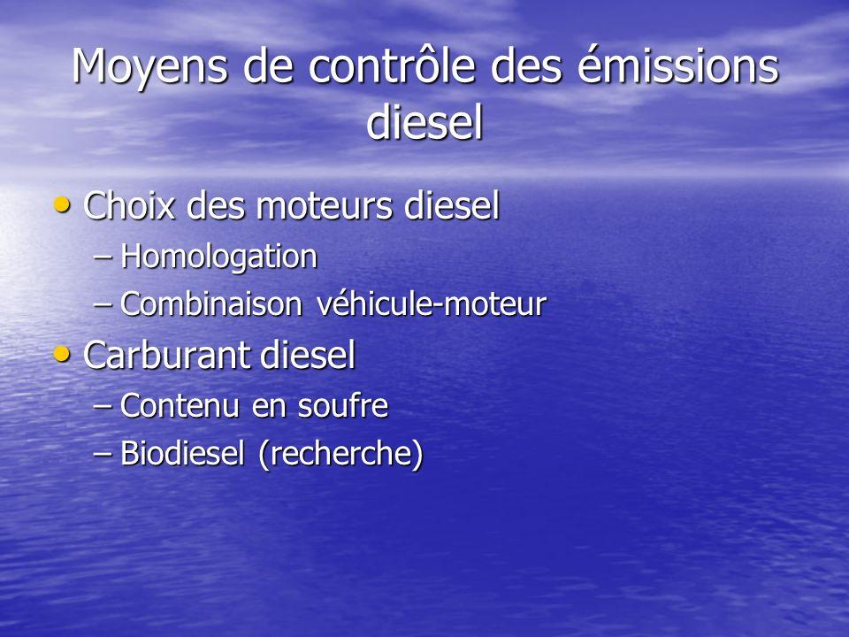 Moyens de contrôle des émissions diesel Choix des moteurs diesel Choix des moteurs diesel –Homologation –Combinaison véhicule-moteur Carburant diesel