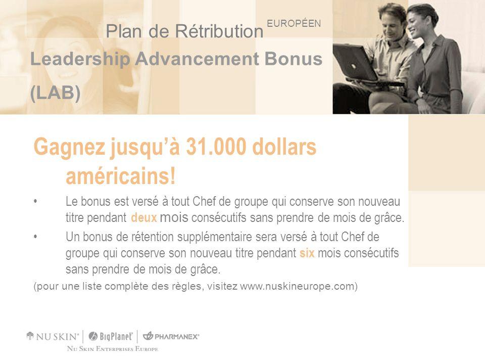 Leadership Advancement Bonus (LAB) Gagnez jusquà 31.000 dollars américains! Le bonus est versé à tout Chef de groupe qui conserve son nouveau titre pe