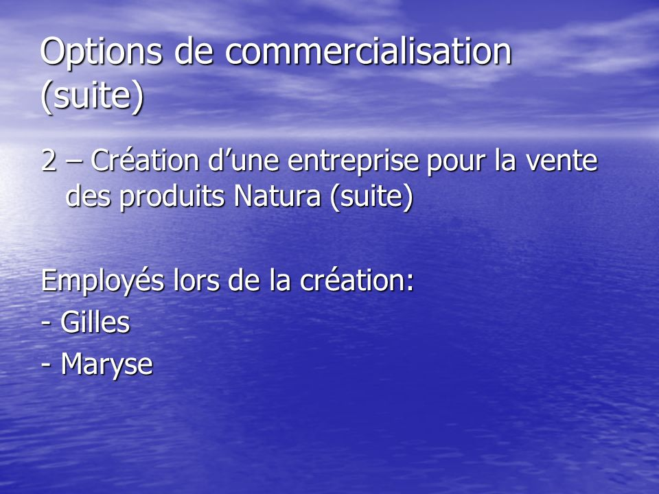 Options de commercialisation (suite) 2 – Création dune entreprise pour la vente des produits Natura (suite) Employés lors de la création: - Gilles - Maryse