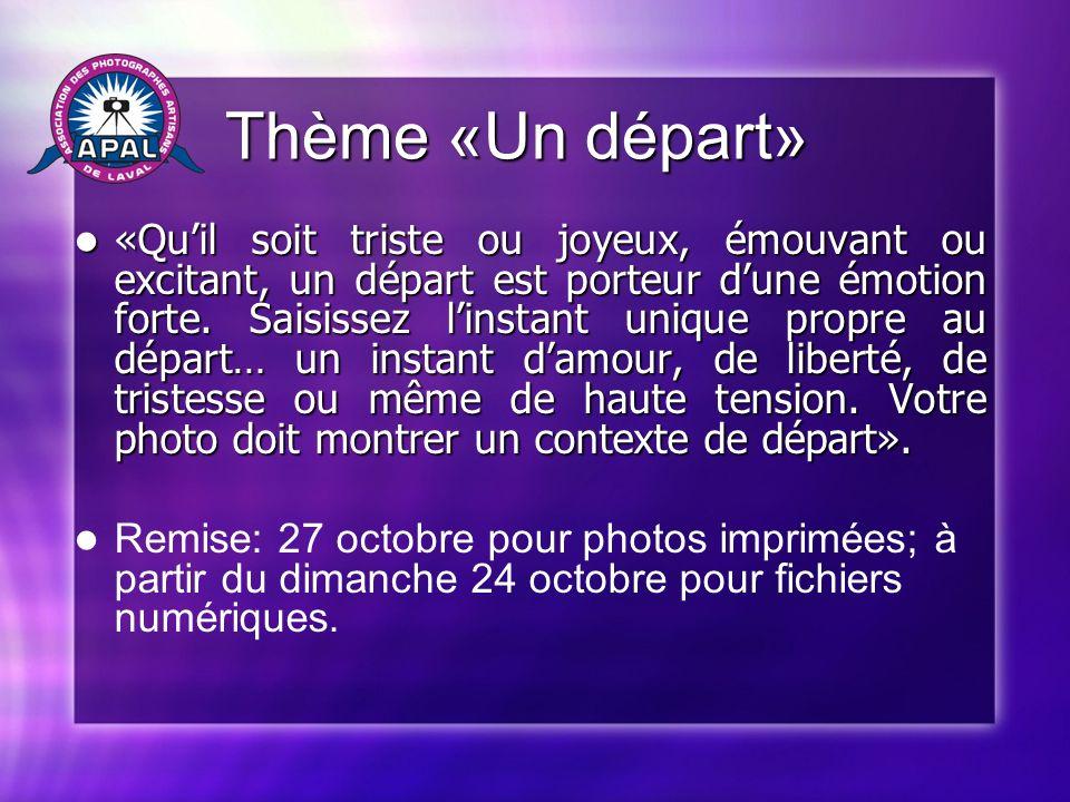 Programmation Programmation Mercredi 27 octobre: Mercredi 27 octobre: «Du clic au Wow!» par Michel Jarry (trucs et astuces de la photo numérique!)