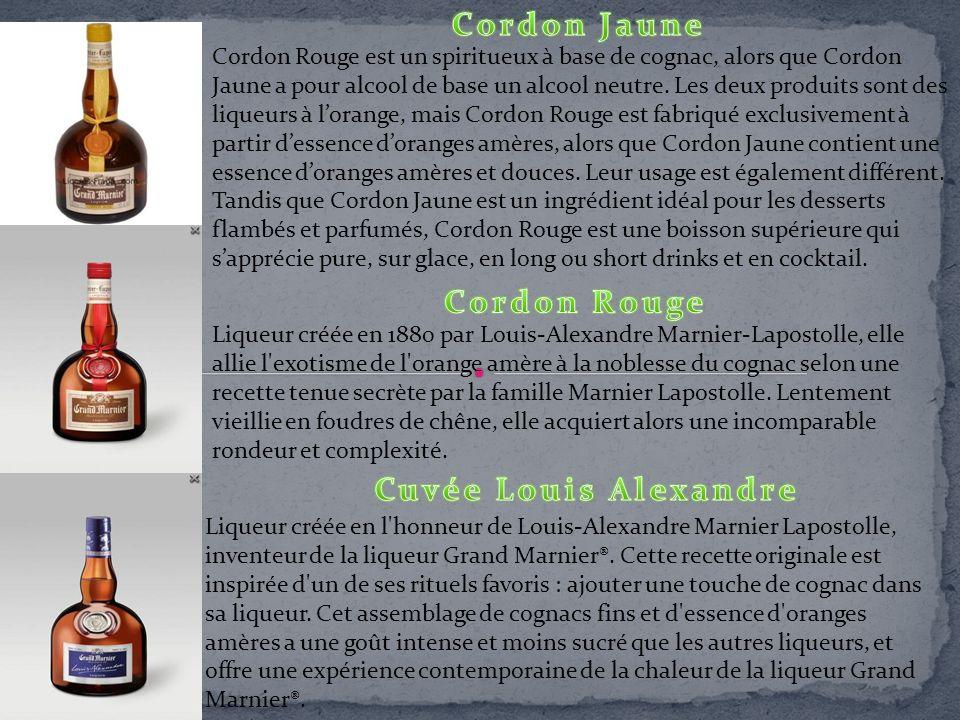 Liqueur créée en 1880 par Louis-Alexandre Marnier-Lapostolle, elle allie l'exotisme de l'orange amère à la noblesse du cognac selon une recette tenue