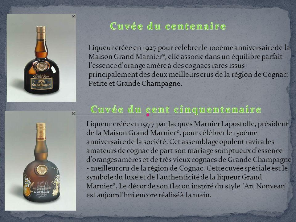 Liqueur créée en 1927 pour célébrer le 100ème anniversaire de la Maison Grand Marnier®, elle associe dans un équilibre parfait l'essence d'orange amèr