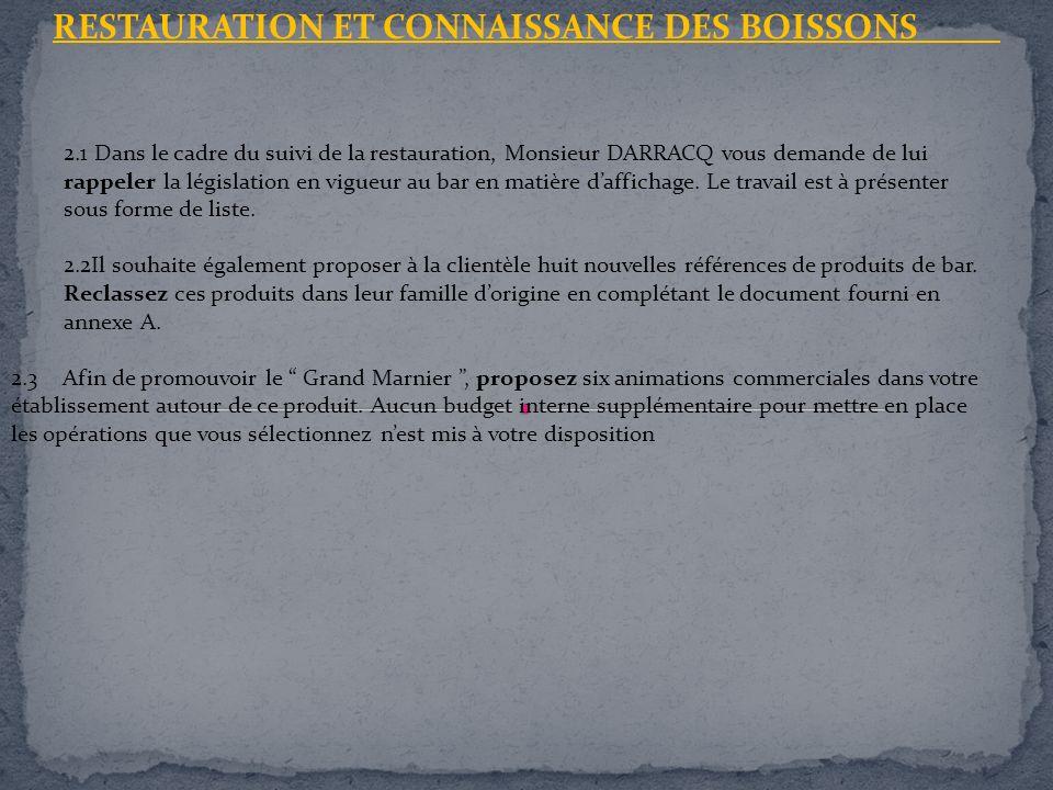 RESTAURATION ET CONNAISSANCE DES BOISSONS 2.1 Dans le cadre du suivi de la restauration, Monsieur DARRACQ vous demande de lui rappeler la législation
