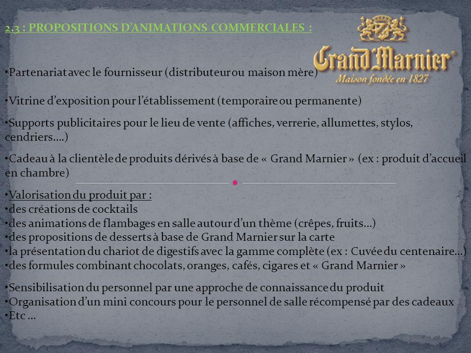 2.3 : PROPOSITIONS DANIMATIONS COMMERCIALES : Partenariat avec le fournisseur (distributeur ou maison mère) Vitrine dexposition pour létablissement (t