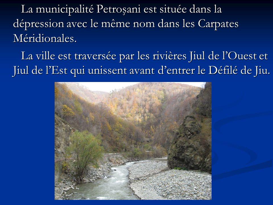 La municipalité Petroşani est située dans la dépression avec le même nom dans les Carpates Méridionales. La municipalité Petroşani est située dans la
